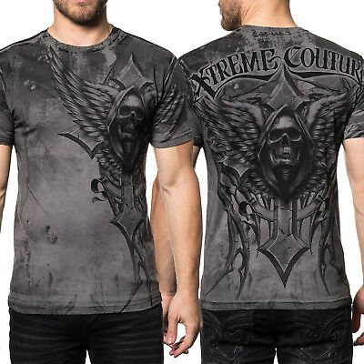 Xtreme Couture by Affliction Last Scream Reaper Skull UFC MMA Mens T-Shirt Grey