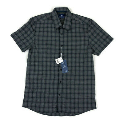 Ryan Seacrest Mens Button Shirt Short Sleeve Gray Plaid Variety Sizes