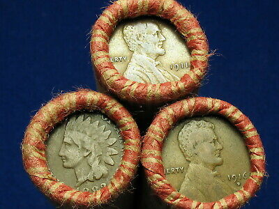 @Shotgun Roll Full Of Indian Head Cents & Teen Wheat Pennies -Old Lot 1858-1919@