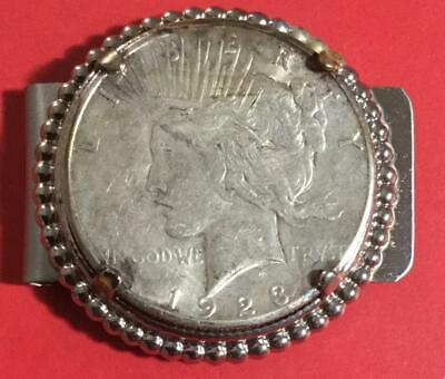 "1923 US Peace SILVER Dollar MONEY CLIP! Same Year Shown in ""Batman"" Movie!"
