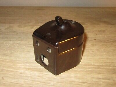 Old Vintage Art Deco 1930s Temco Bakelite & Ceramic Dolly Light Switch