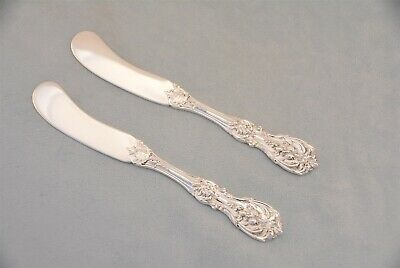 """2 Reed & Barton Francis I Sterling 5-7/8"""" Flat Handle Butter Spreaders No Mono"""
