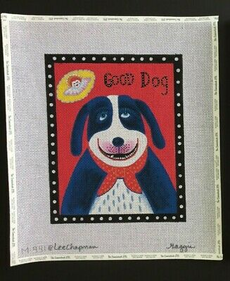 """Maggie Co./Lee Chapman Hand-painted Needlepoint Canvas """"Good Dog"""" With Angel"""