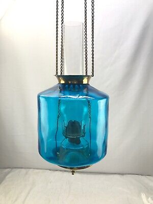Antique Victorian Hall Hanging Oil Lamp Blue Spot Dot Optic Shade