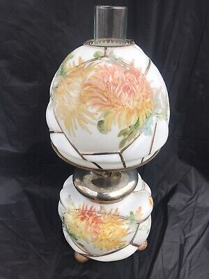 1880's Antique Banquet Oil Lamp Signed Numbered Gold Guild Gilt Hand Painted