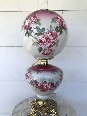 Antique 1890's Banquet Oil Lamp Hand Painted Roses Pittsburg Gone with the Wind