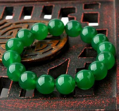 10mm Natural Agate Green jade Bracelet Bracelet Mens Women Fashion Jewelry