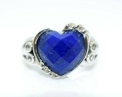 Lapis Lazuli Heart Shaped .925 Sterling Silver Ring Size 8