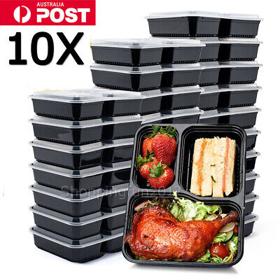 10X Freezer Microwavable Meal Prep Plastic Food Storage Containers Lunch Box AU