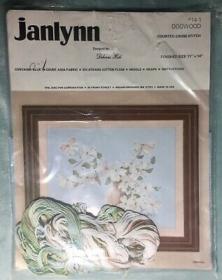 New Vintage Janlynn 'Dogwood' Flowers Counted Cross Stitch Kit Blue Background