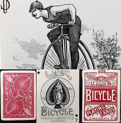 c1891 Historic Bicycle High Wheeler Best Bower Joker Antique Playing Cards & Box