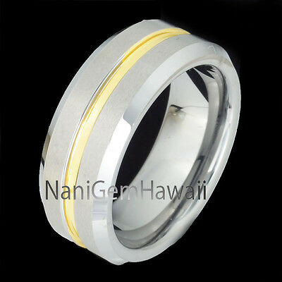 Tungsten 8mm Hawaiian Band Ring Line Yellow Gold Plated (Same Koa Wood Style)