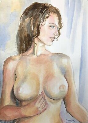 original painting naked woman 30JV-X watercolor peinture femme nue A3