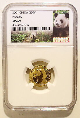 2001 China Panda  50 Yuan 1/10 OZ gold coin,  NGC MS 69, panda label