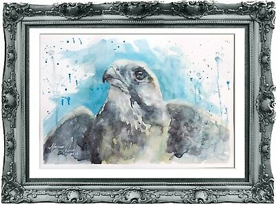 original painting art eagl watercolor 191LM peinture originale eagl aquarel A4