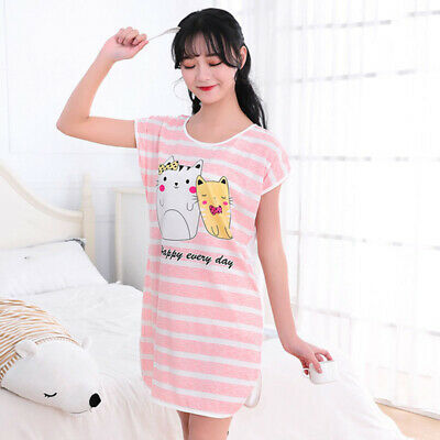 Women Homewear Ladies Summer Short Sleeve Nightdress Leisure Scoop Neck 2018