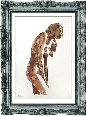 original painting naked woman 185SA watercolor peinture femme nue A3