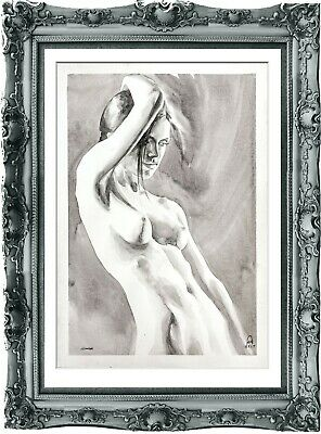 original painting naked woman 72ShA watercolor peinture femme nue A3