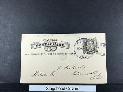 US Postal Card 22 Nov 1881 Salem Ohio To Cincinnati Ohio 1c Liberty