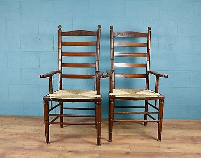 Pair of Arts and Crafts Ladder Back Chairs, Armchairs (100451)