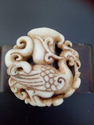 Chinese  ancient  sculpture natural hetian jade  beast  pendant