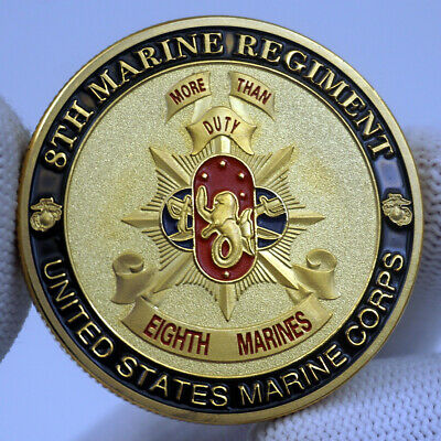 US 8th Marine Corps Eagle Gold Plated Challenge Coin Military Fans Collectibies