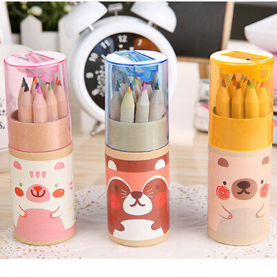 12 Pcs / set Bear Cartoon Mini Colored Pencil sWooden Paintings Colors Sharpener