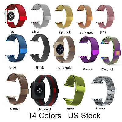Magnetic Milanese Stainless Steel Wrist Strap Band For Apple Watch Series 4 3 2