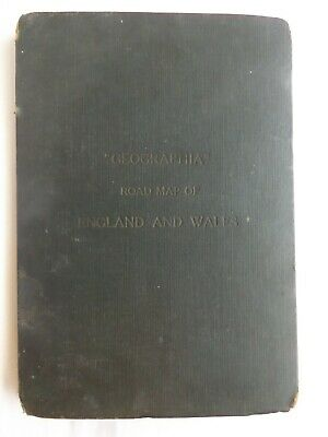 Old Geographia Map Of England & Wales Linenback In Hardback Covers