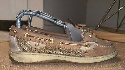 3908b493a49e Womens Sperry Top Sider Angelfish Gold Glitter Boat Shoes 7.5 M Excellent  Clean
