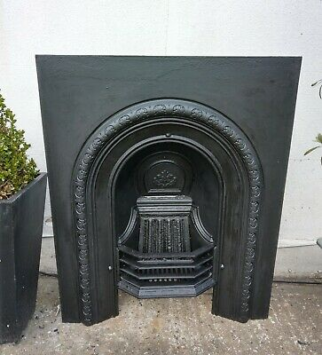 Original Antique Victorian  Arched Cast Iron Fireplace Insert Complete