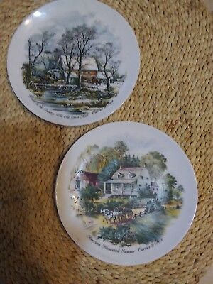 """2 Currier & Ives 6"""" Plates-Homestead Summer/country Winter & Avon '95 Xmas Plate"""