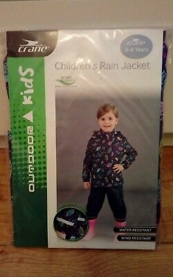 New Girls Navy Floral Rain Jacket Age 3/4 Years
