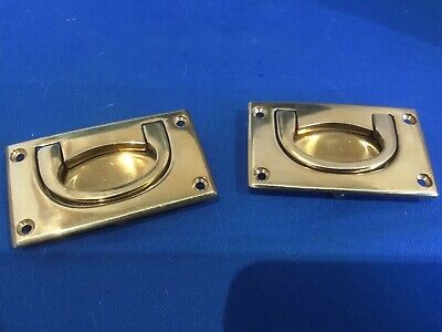 Unused pr. antique vintage style brass recessed furniture handles clear out