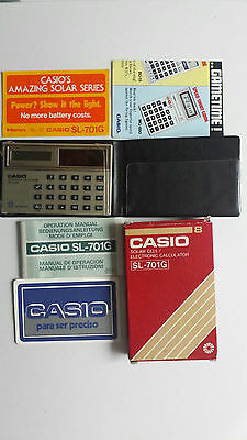 CASIO SL 701G  calculator solar cell year 1982 vintage  box and papers few units