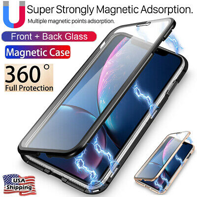 Front+Back Tempered Glass Magnetic Metal Case Full Cover iPhone XR Xs Max X 7 8+