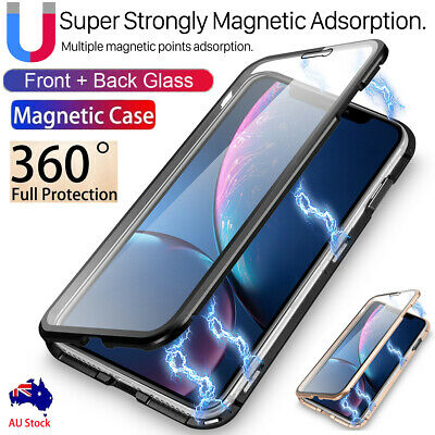 Front+Back Tempered Glass Magnetic Metal Case Full Cover iPhone 7 8+ Xs Max XR X