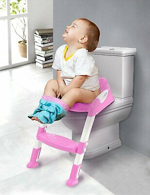 Baby Pink Toddler Kids Safety Potty Training Toilet Step Ladder Loo Seat Trainer