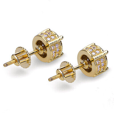 0a9d6fcad Mens 18K Gold Plated Iced Out CZ Micropave Round Earring Stud Screw Back  Hip Hop