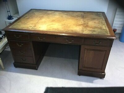 Antique Georgian Original Partners Desk leather top Rare