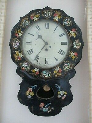 Victorian Papier Mache Mother Of Pearl And Painted Wall Clock