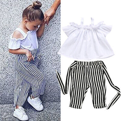 UK Toddler Kids Baby Girls Clothes Tops T-Shirt Stripe Pants Summer Outfits Set