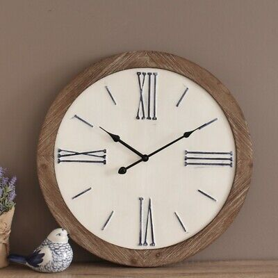 Large Rustic White Farmhouse Style Wooden Wall Clock 48cm Beach Home Kitchen ...