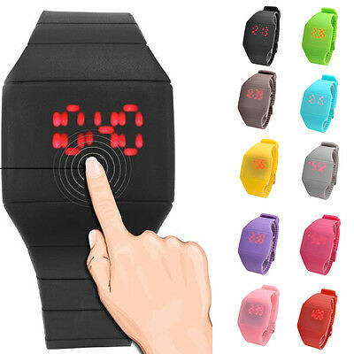 Ultra-Thin Boys Girls Touch Screen LED Digital Silicone Casual Wrist Watch Prese