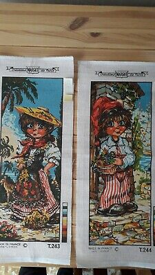 Tapestry printed canvas x 2 Vintage French
