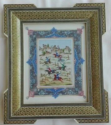 Persian Khatam Inlaid Frame Persian Miniature Hand Paint Micro Mosaic Marquetry
