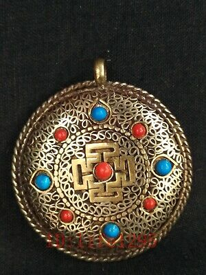Collected Old Chinese Tibet Copper Inlay Jewelry Amulet Pendant Decoration Gift
