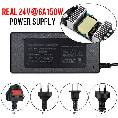 Universal 24V@6A 150W AC/DC Power Supply Adapter Charger Switch for Amplifiers