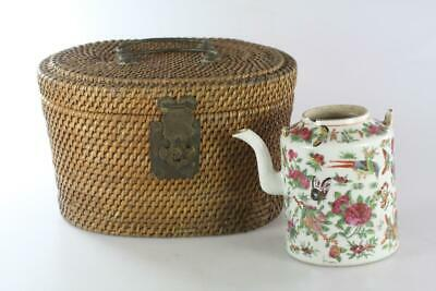 Antique Chinese Qing Dynasty Famille Rose Cantong Teapot In Original Basket