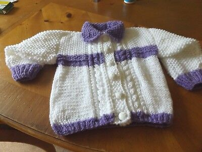 Brand New Hand Knitted Baby Girls Lilac  & White  Aran Cardigan With Collar